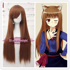 Spice and Wolf Holo Long Straight Light Brown Anime Cosplay Hair Wig +a wig cap