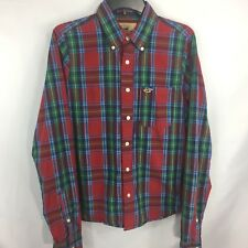 HOLLISTER - Red Plaid Long Sleeve Button Front Shirt size L Mens