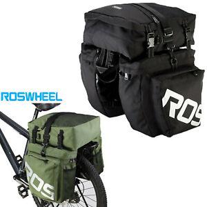 ROSWHEEL 3 In 1 Bike Carrier Rack Saddle Bag Bicycle Pannier Rear Seat Box 37L