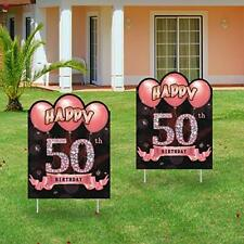 Excelloon 2Pcs 50th Birthday Yard Sign Decorations for Women, Rose Gold 50.
