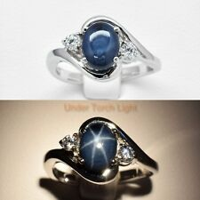 Stunning! 8x6mm Natural 6 Ray Deep Blue Star-Sapphire Ring in 925 Silver