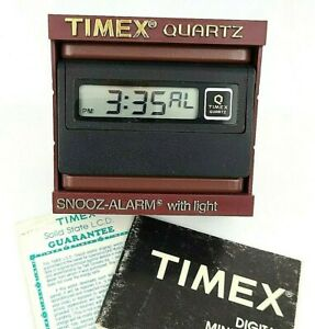 Alarm Clock Timex Quartz Vintage 1983 Digital Mini M-411 + Original Box + Papers
