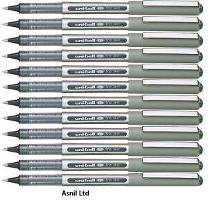 12 x UNIBALL EYE FINE UB 157 ROLLER BALL PEN 0.7mm BLACK Uni ball Pens