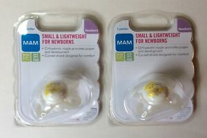 NEW! LOT OF (2) MAM SMALL & LIGHTWEIGHT FOR NEWBORN PACIFIERS- BPA & BPS-FREE