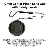 72mm center pinch snap on Front Lens Cap Cover For Canon N w string SH J5X7 I7A7