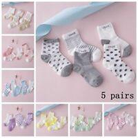 5 Pairs Cute Baby Boy Girl Cartoon Cotton New Born Toddler Infant Kids Soft Sock