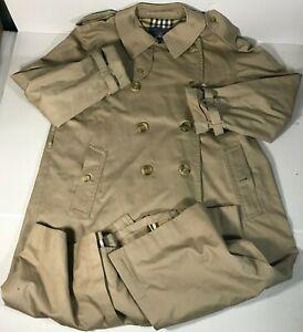Burberry London Trench Coat Classic Mens Size 44R Tan Beige Gabardine Nova Check