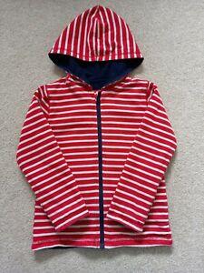 Boy's Navy/Red Stripe Reversible Zip-Up Hoodie from JoJo Maman Bebe Age 4-5 Year