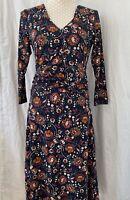Ladies Joe Browns Dress BNWT UK Size 10 Brown Blue Floral V Neck Front & Back