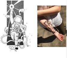 Temporary Tattoo Stickers Body Art Waterproof Black Astronaut Space