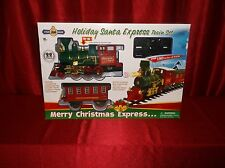 HOLIDAY SANTA EXPRESS 22 PIECE TRAIN SET STEAM ENGINE BATTERY OPERATED NEW