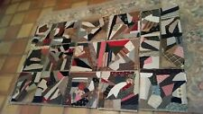 """New listing 13 Vintage 16"""" X 16"""" & two 8"""" X 30"""" Strips Crazy Quilt Blocks With Backing"""