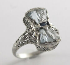 Vintage Art Deco  Aquamarine & Sapphire Ring 14k White Gold Size 6