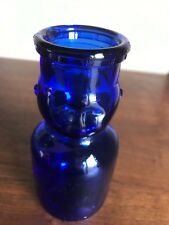 Vintage  BABY FACE HALF PINT MILK BOTTLE. Blue glass