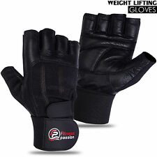 Weightlifting Gym Fitness Body Building Training Pure Leather Gloves Black
