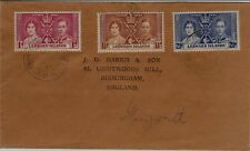 1937  LEEWARD Islands Geo VI Coronation Stamps SG92-94 FIRST DAY COVER Ref:C36
