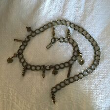 Vintage Women's Tarnished Gold Chain Link Belt With Dangling Ornaments c.1980s