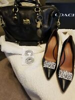 NIB Coach Waverly Pumps and Large Madison Sabrina 12949 Handbag Satchel in Black