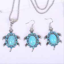 VintageTibetan Silver Sea turtle Turquoise Pendant Necklace Earrings Jewelry Set