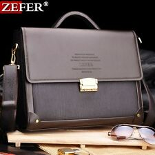 ZEFER Men's Leather Vintage Briefcase Laptop Work Attache Case Shoulder Bag