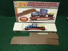 AHM HO SCALE TRUCK, TRAILER & RACE CAR WITH 51 FT FLAT CAR & DOCK