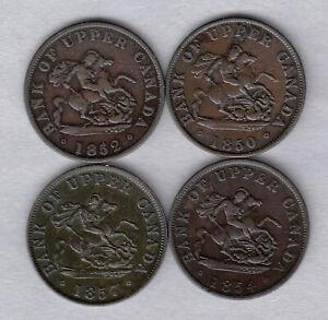 1850, 1852, 1854, & 1857 Bank Of Upper Canada Half Penny Bank Tokens ~ Very-Fine