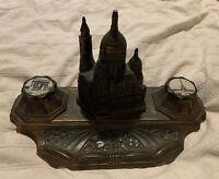 Antique Art Deco Cast Metal Souvenir Inkwell Paris France Le Sacre Coeur Church