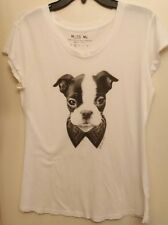 Miss Me Women's White Tee Shirt  Size Small 112568 preowned