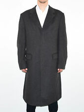 Grey Wool Cashmere Blend DEHAVILLAND Loose Long Button Men's Coat Size L XL