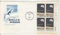 Houston TX Apollo 8 Numbered Plate Block Astronauts Cachet FDC F04