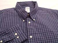 Brooks Brothers Mens XL Long Sleeve Button-Down Blue Plaid Check Shirt