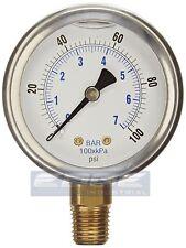"Liquid Filled pressure gauge compressor hydraulic 2.5 ""face 0-100 lower mnt 1/4"""