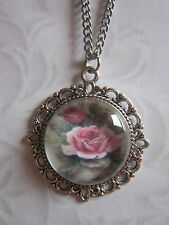 Rose glass cabochon pendant charm necklace 19 inch stainless steel chain
