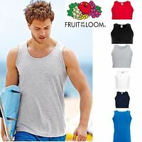 2, 5 Pack Mens Fruit of the Loom Plain Athletic Vests Tank Top Gym Training Lot