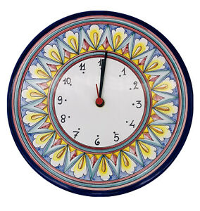 """Ceramic Wall Clock Italy Williams Sonoma Cobalt Blue Colorful Floral 11.1/8""""W."""