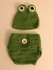 Green Frog Crochet Hat And Diaper Cover 251