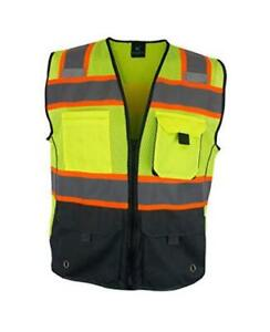 Deluxe High Visibility Vest with Multi Frontal Pockets | ANSI XX-Large Black