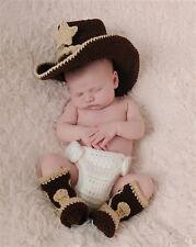 Newborn baby Photography Prop Crochet Knit Cowboy Hat Boots Diaper Set Costume