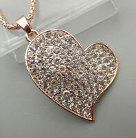 Betsey Johnson Women's Clear Crystal Rhinestone Heart Pendant  Necklace
