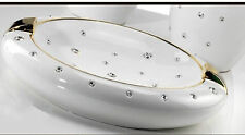 41x37x9,5cm Keramik Porzellan Schale Schüssel Bowl  24K Gold Swarovski Italy NEW