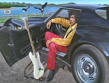 Jimi Hendrix & his 1969 Corvette Stingray limited edition poster art Woodstock
