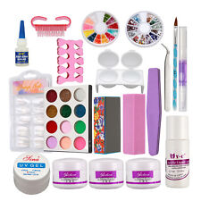 Pro Nail Art Kit ~ Acrylic Powder Liquild Nail Art Files Glue Uv Tips Tools Us