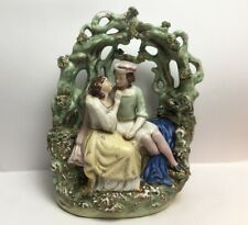 antique Staffordshire Flat Back Courting Couple Siting Below Tree Branches