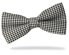 GIFTS FOR MEN Pre-Tied Adjustable Mens Dogtooth Polyester Evening Bow Tie Black