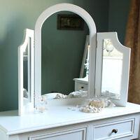 Madera Blanco Triple Tocador Espejo Estilo Antiguo Dormitorio Casa Muebles