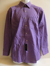 NEW Men's CLUB ROOM Purple White Black Dress Shirt size 15-1/2 MED 32/33 Plaid