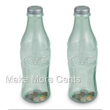 "Coke Coca-Cola Coin Bottle Piggy Banks - Pack of 2 11"" Bottles - FREE SHIPPING"