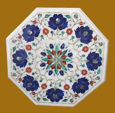 "15"" Marble Table Decorative Lapis Semi Precious Stone Handmade Home Decor"