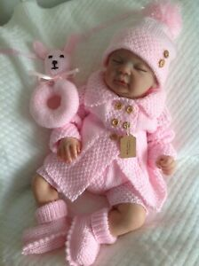 """Hand knitted baby clothes jacket cardigan outfit set 0-3 mths reborn doll 20""""22"""""""