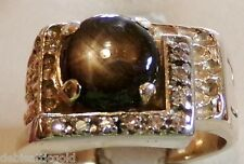 "14k Yellow Gold Nugget Black Star Sapphire 9 Diamond "" L "" Mens Ring Sz 7.25"